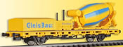 H0 Low side car with cement mixer, functional model for 2 rail version