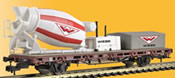 H0 Low side car with concrete mixer WIEBE, functional model for 2 rail version