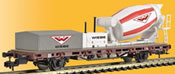 H0 Low side car with cement mixer WIEBE,functional model for 3 rail version