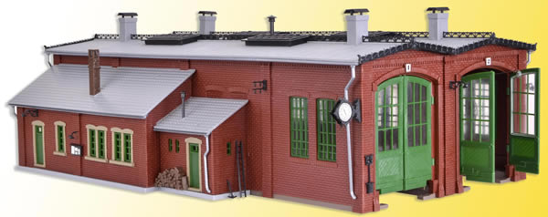 Vollmer 45752 - Loco shed with door lock mechanism, double track, functional kit