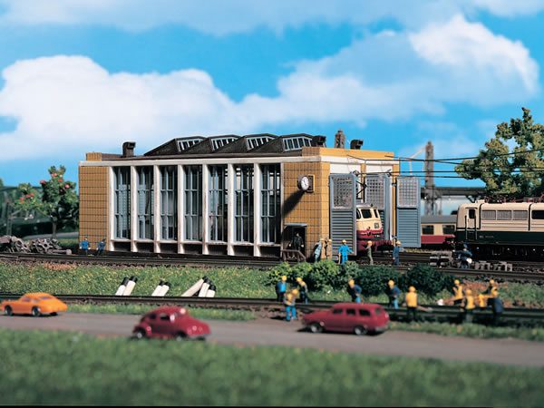 Vollmer 47605 - E-loco shed with automatic door lock mechanism, double track