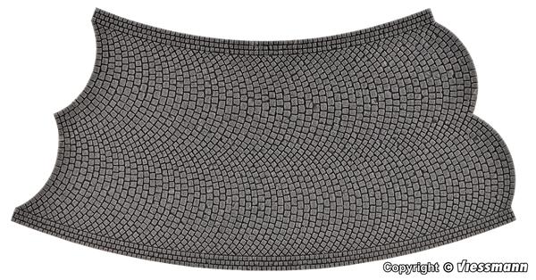 Vollmer 48257 - Street tile Cobblestone stone art, 45 °, opposite, radius 15 cm
